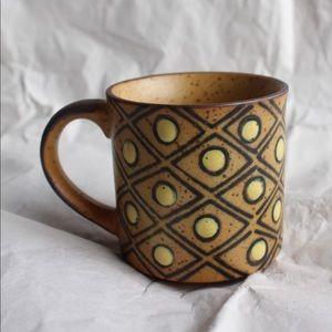Ceramic Mug with Yellow Polka Dots